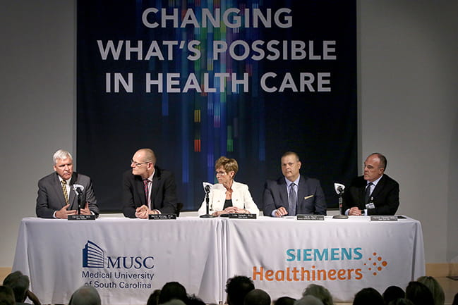 MUSC President David Cole, Siemens Healthineers CEO Bernd Montag, MUSC Exec. VP for Academic Affairs and Provost Lisa Saladin, N. America Siemens Healthineers President Dave Pacitti and MUSC Health CEO and MUSC VP for Health Affairs Patrick Cawley.
