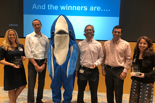 Winners of the 2019 Innovation Week Shark Tank. From left: Stephanie McGowan, Jesse Dean,Shark, Preston Walker, and Amanda Giles. Missing from photo: Jodie Rush, Shane Woolf, and Harris Slone
