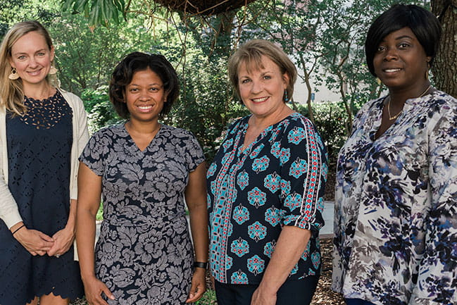 Group of women from left to right: Alex O'Brien, Tammy Smith Thompson, Kathleen White, Stephanie Brown