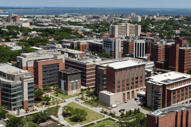 Aerial view of the MUSC campus
