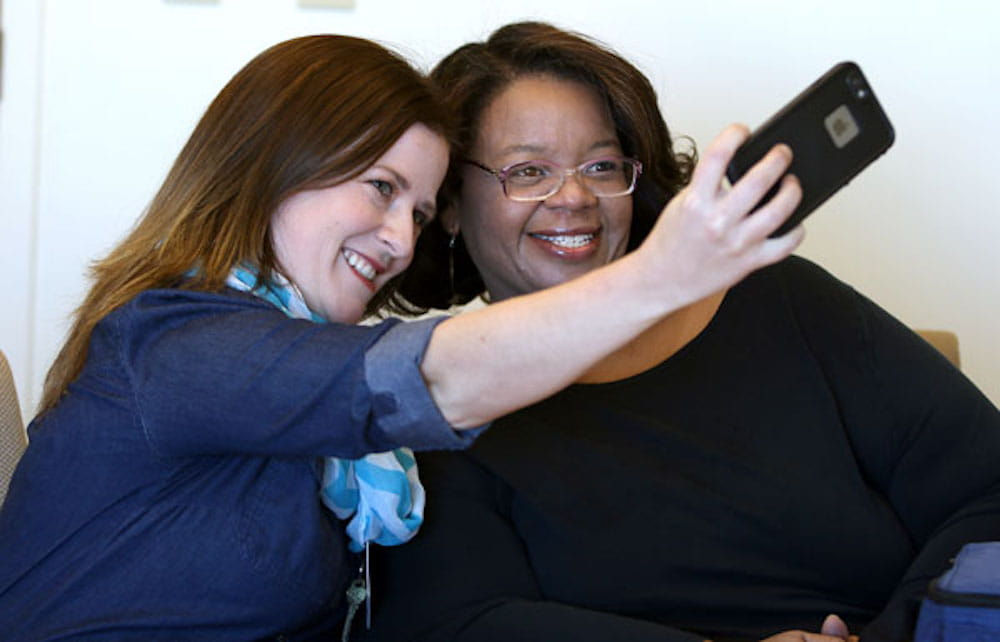 Dietitian Nina Crowley, left, takes a selfie with Kathy Garrett, the first woman in South Carolina to undergo duodenal switch weight loss surgery.