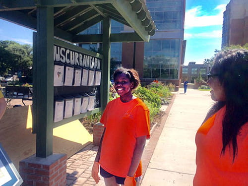 Young people in orange shirts stand in front of a kiosk at the garden at MUSC.