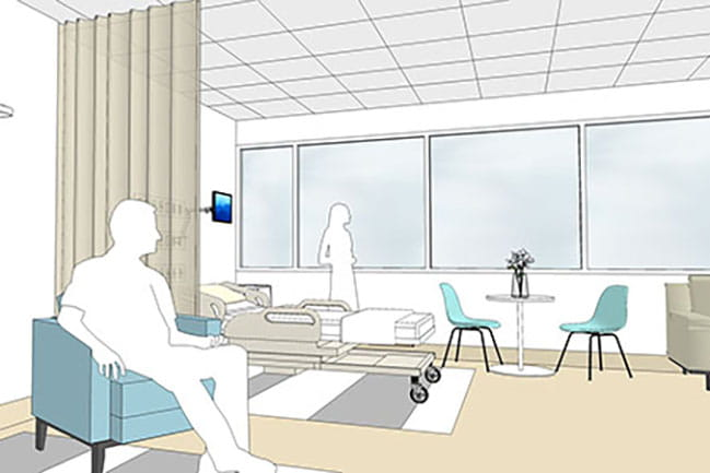 An artist's rendering shows what the NICU couplet rooms may look like.