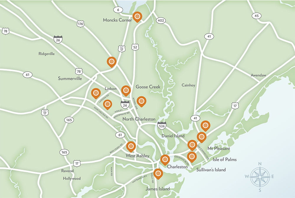 map showing new clinic locations