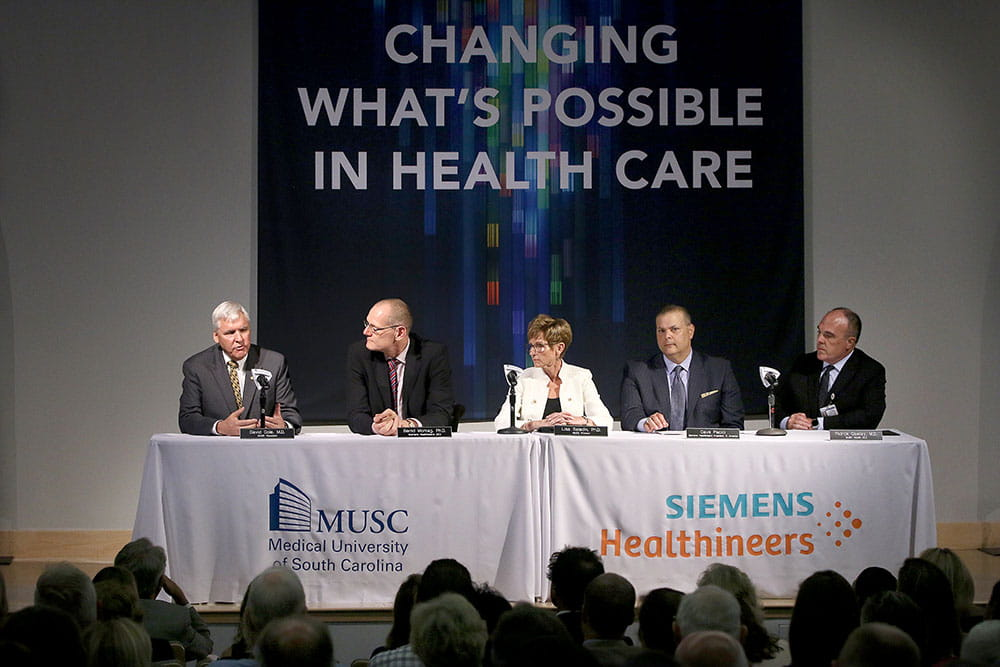 From left, MUSC President David Cole, Siemens Healthineers CEO Bernd Montag, MUSC Executive Vice President for Academic Affairs and Provost Lisa Saladin, North America Siemens Healthineers President Dave Pacitti and MUSC Health CEO and MUSC Vice President for Health Affairs Patrick Cawley