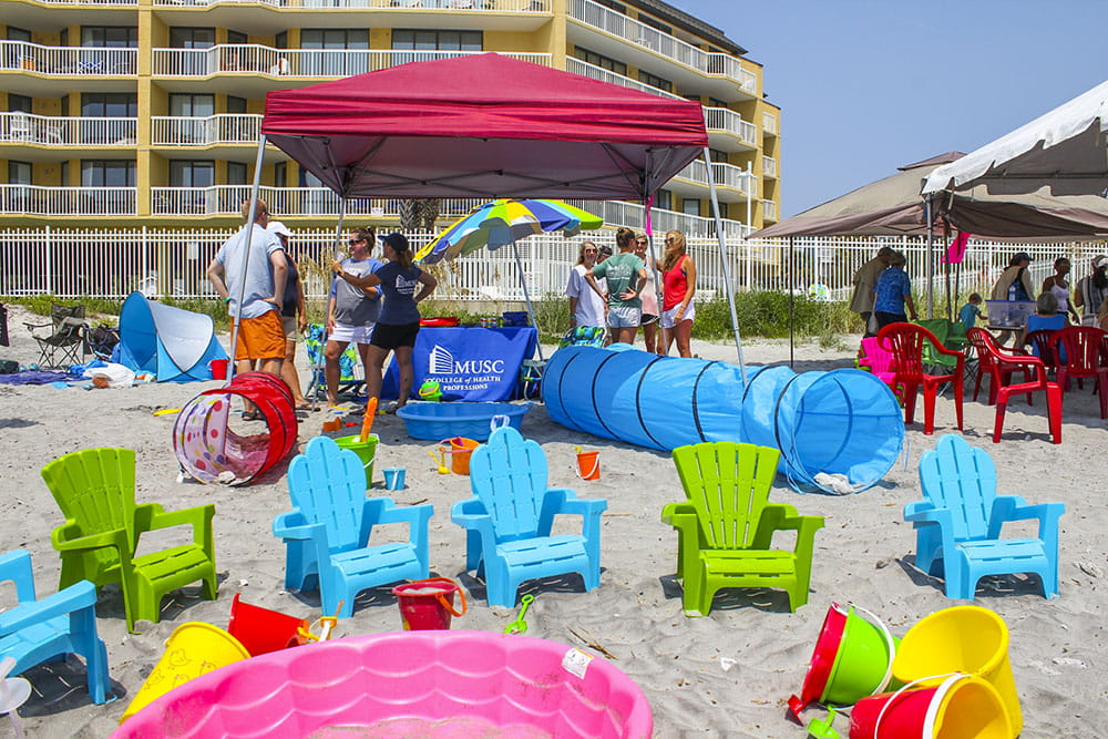 A colorful play area gives kids a place to hang out before and after they surf.