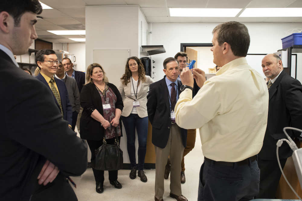 Dr. Mike Yost demonstrates how the 3-D printer works with MUSC surgeons to save lives.