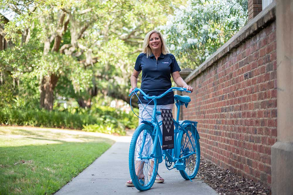 Kathy Cole with a Lowvelo bike