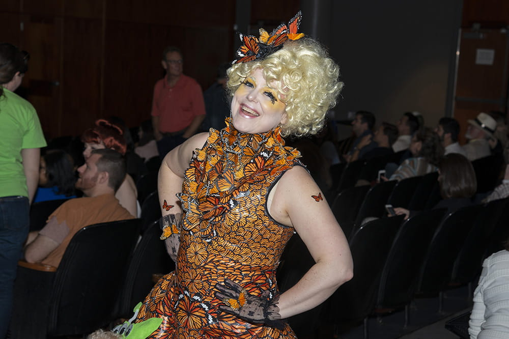 Koci dressed at Effie Trinket from the Hunger Games