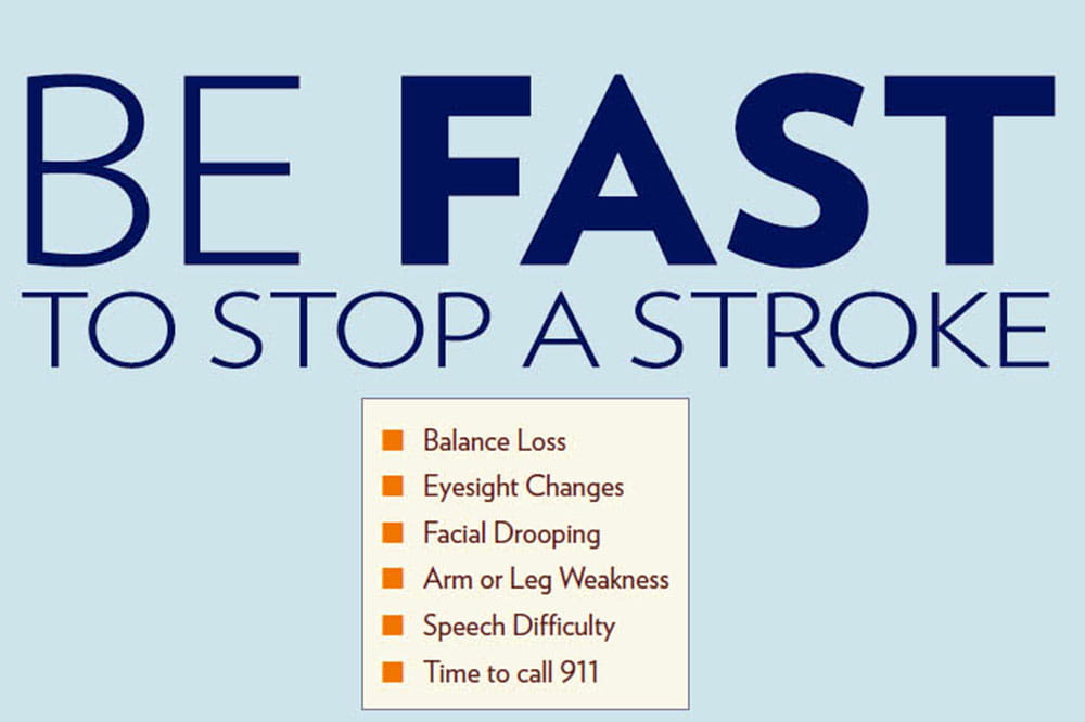 Be fast to stop a stroke. Look for: Balance loss, Eyesight changes, Facial drooping, Arm or leg weakness, Speech difficulty. Call 9-1-1.