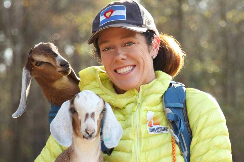 Cokie Berenyi with goats