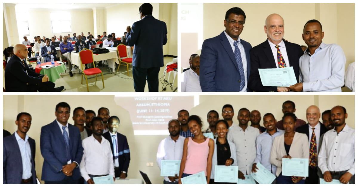 A collage of three photos, all of various attendees at Dr. G's latest workshop in Ethiopia.