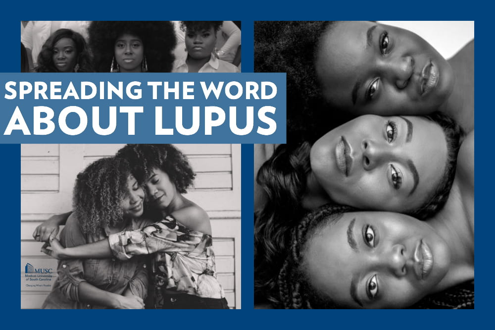 collage of three black and white photos of black women with the words Spreading the Word about Lupus