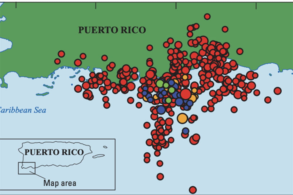 Map showing where earthquakes hit Puerto Rico
