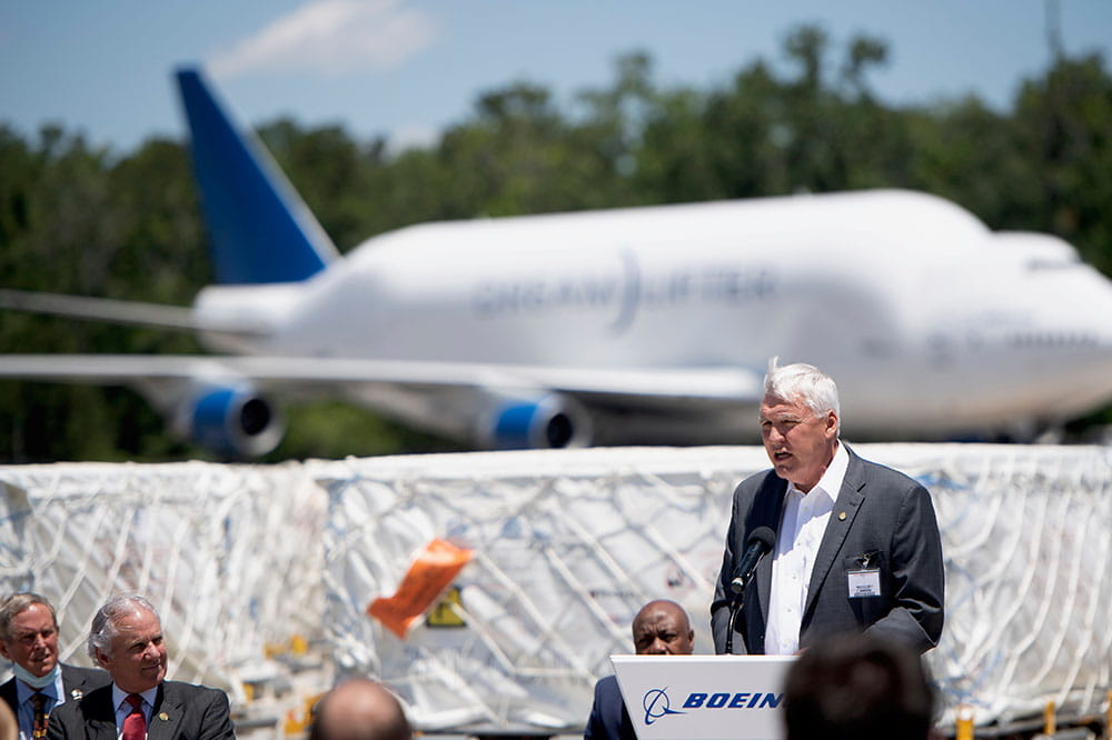 MUSC President David Cole speaks at Boeing in North Charleston.