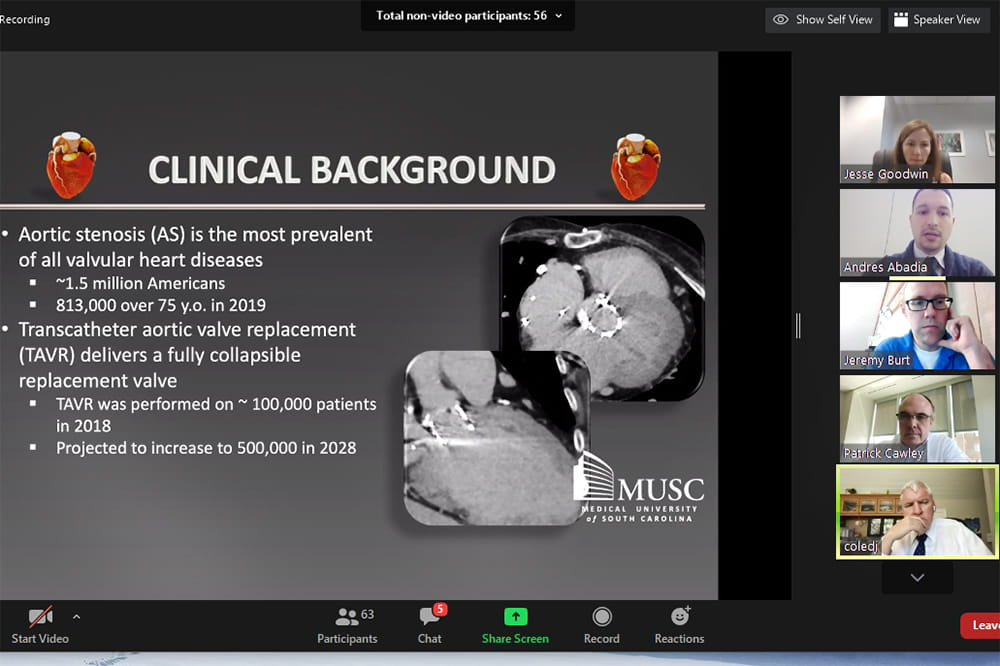 screenshot of Zoom virtual meeting showing a slide with clinical information about the need for TAVR in large window and five smaller windows showing participants