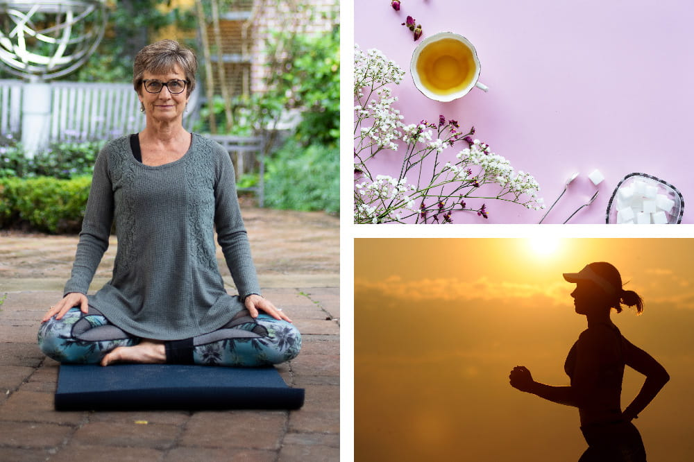 Collage of a woman sitting cross legged on a yoga mat, a cup of tea next to flowers and a sugar bowl, a woman jogging at sunset