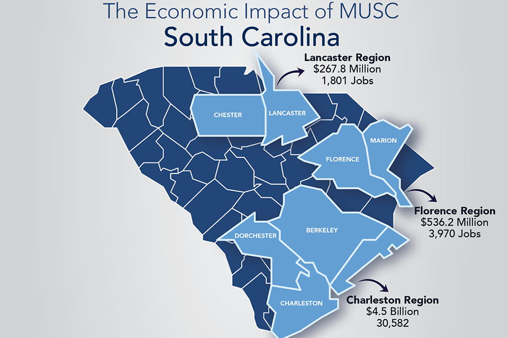 Map showing where in the state MUSC has a large economic impact
