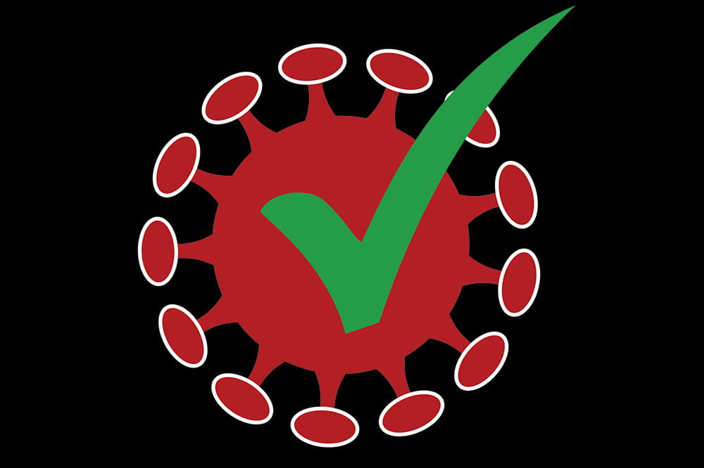 Logo for COVID immunity. Red virus particle with green checkmark.