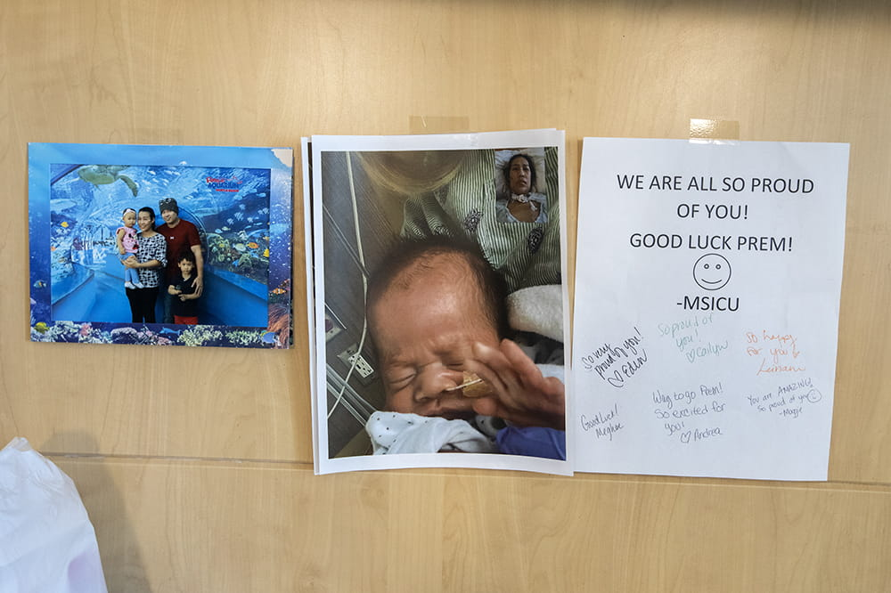 The door to Prem Koonkhuntod's hospital room. There is a note wishing her well from the MSICU team.